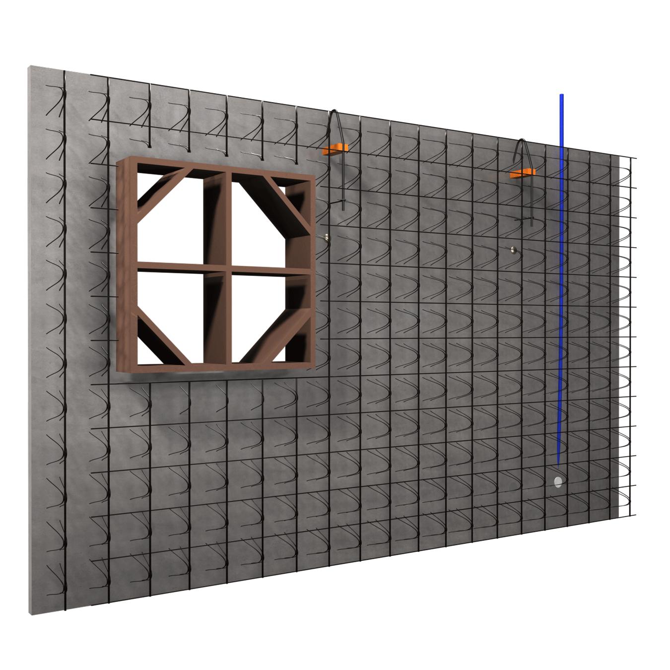 ARMACOFFRÉ® avec coffrage de fenêtre, boitier et gaine électrique – vue en éclaté de la paroi intérieure