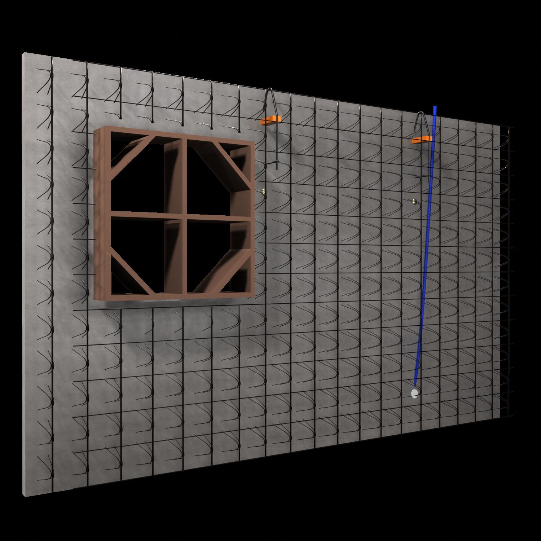 ARMACOFFRÉ® mit Fensterschalung, Elektrorohren und Dosen - Explosionszeichnung der Innenschale