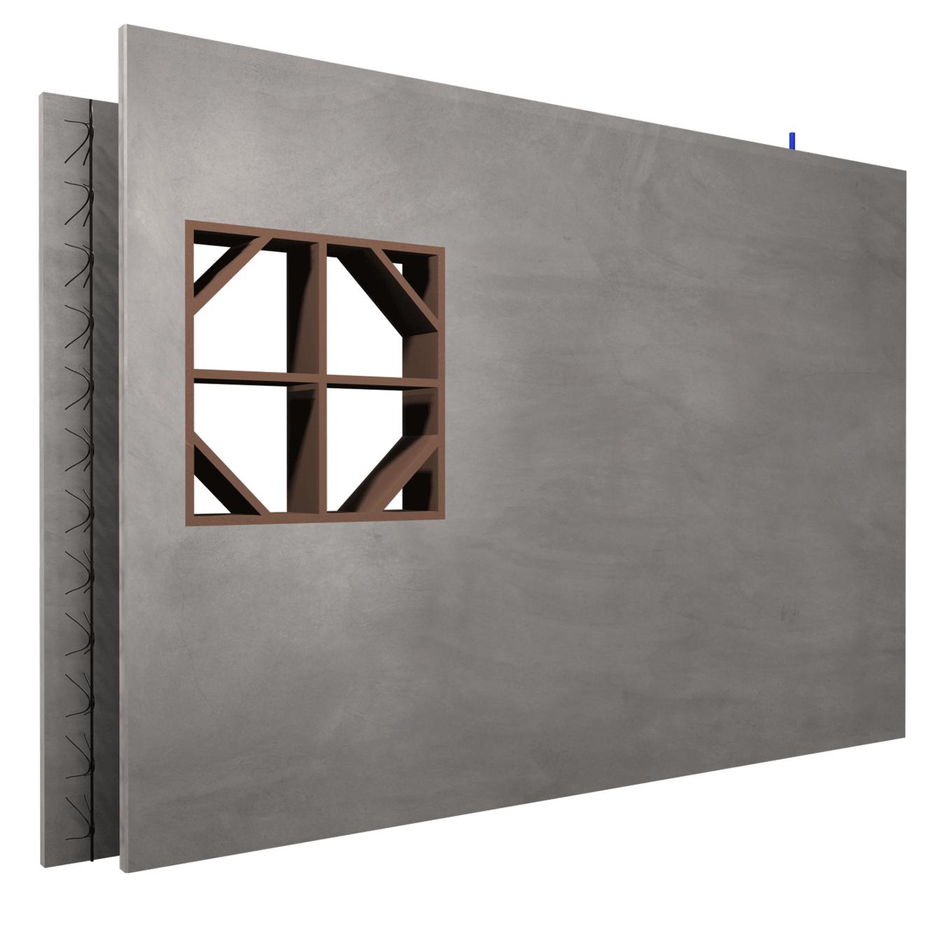 ARMACOFFRÉ® mit Fensterschalung und versetzter Schale, Ansicht der Außenschale