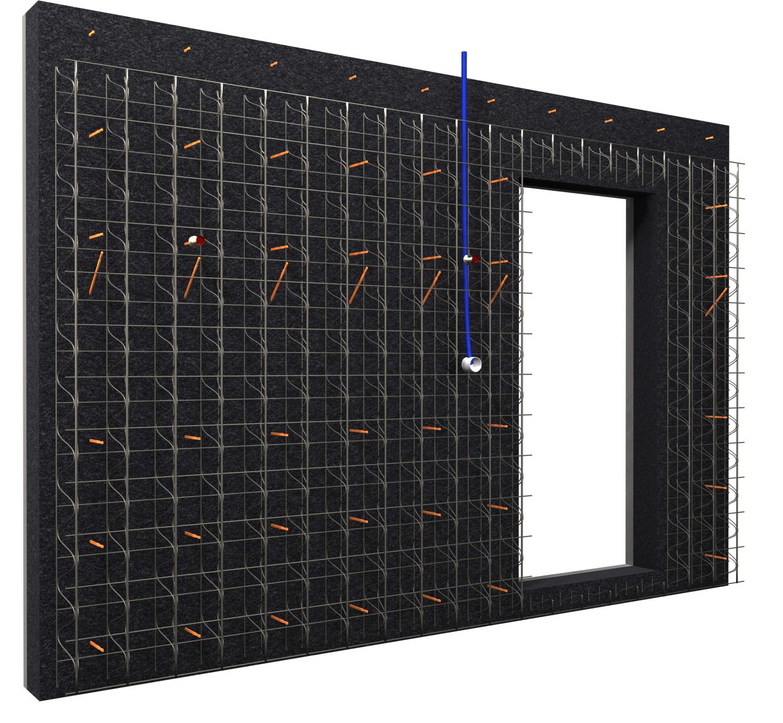 THERMACOFFRÉ® mit Türschalung, Elektrorohren und Dosen sowie Glasfaserstäben für Anschlüsse - Explosionszeichnung der Außenschale